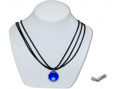 Dark blue pearly king marble insert with black 3 strand leather necklace